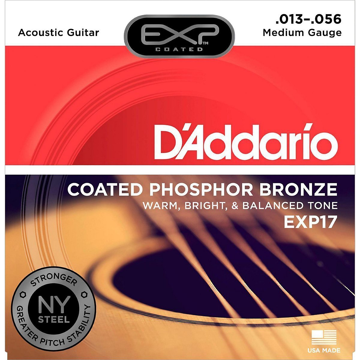 D'Addario EXP Coated Phospor Bronze Medium Acoustic Strings 13-56