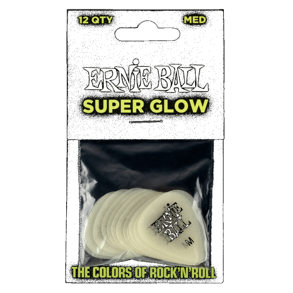 Ernie Ball Super Glow Picks Medium pack of 12