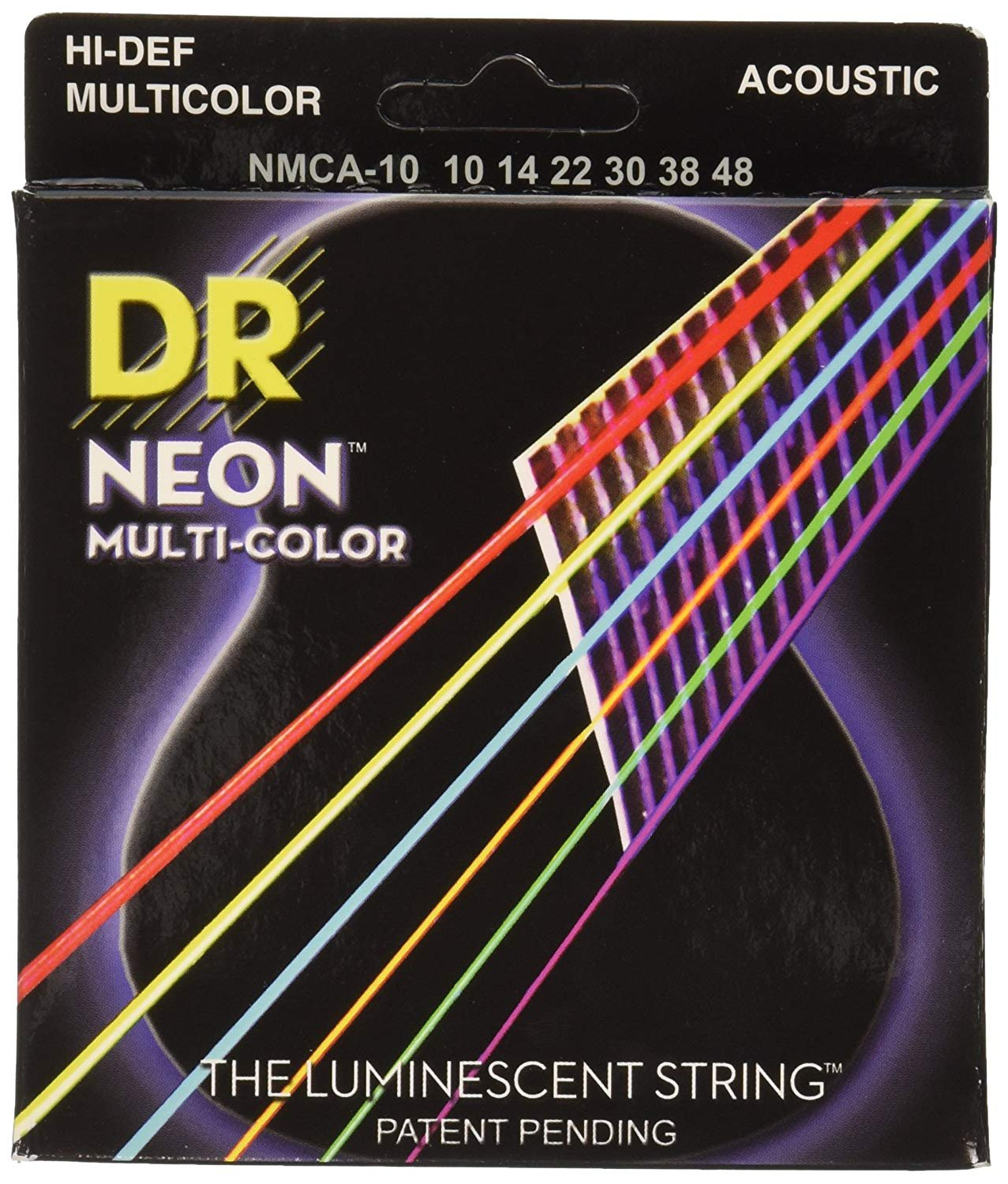 DR Hi-Def Multi-Color Neon Acoustic Strings 10-48