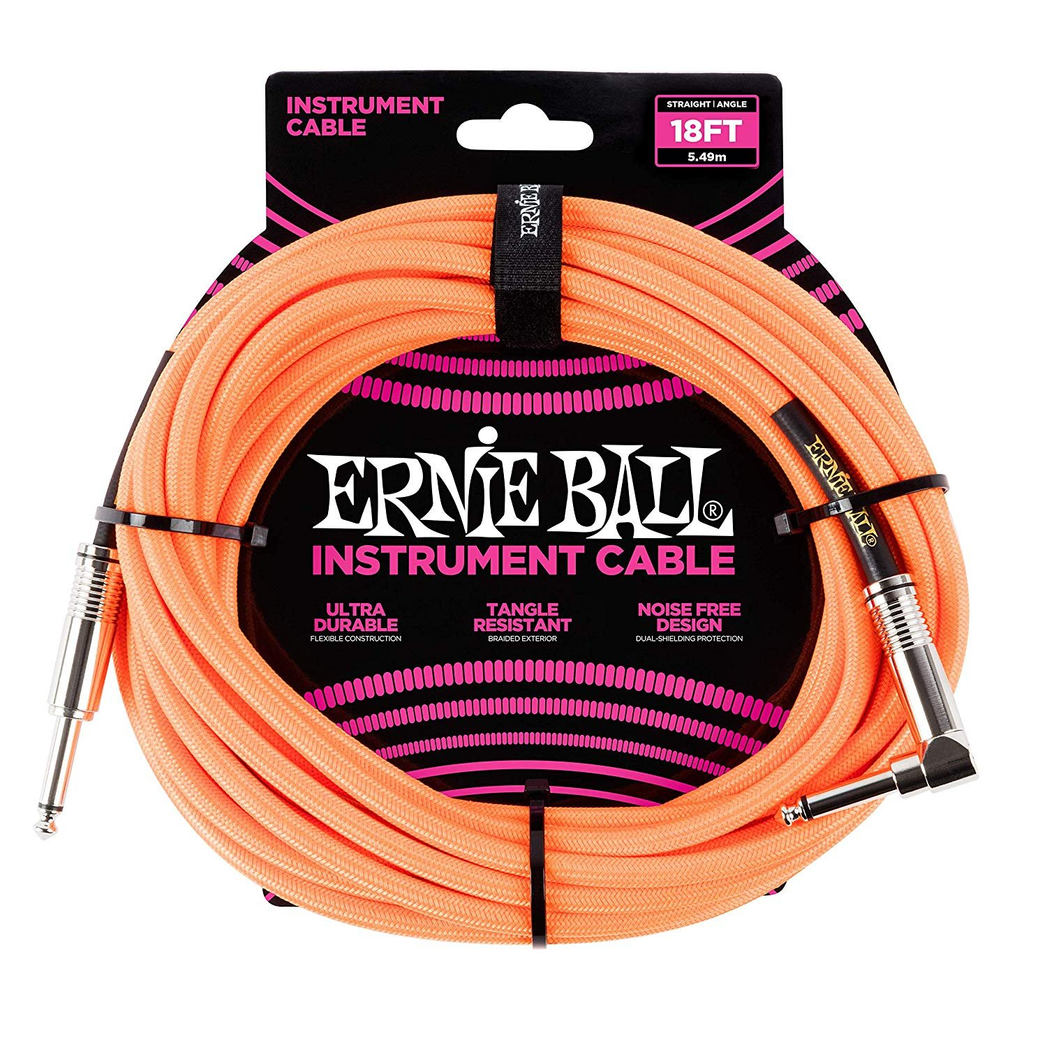 Ernie Ball 18' Braided Cable Straight/Angle, Neon Orange