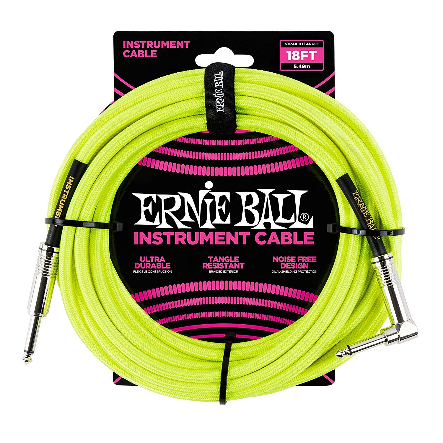 Ernie Ball Neon Yellow Braided Straight/Angle Instrument Cable - 18'