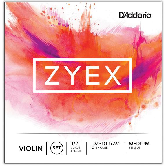 Zyex Violin String Set, 1/2 Scale, Medium Tension