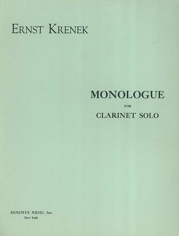 Krenek, Ernst: Monologue for Clarinet Solo