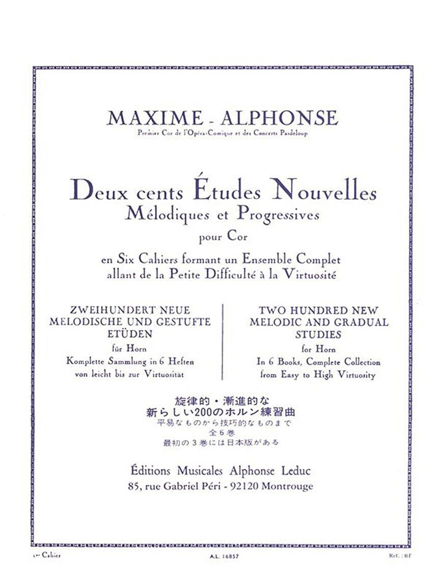 Alphonse, Maxime: Deux cents Etudes Nouvelles for Horn