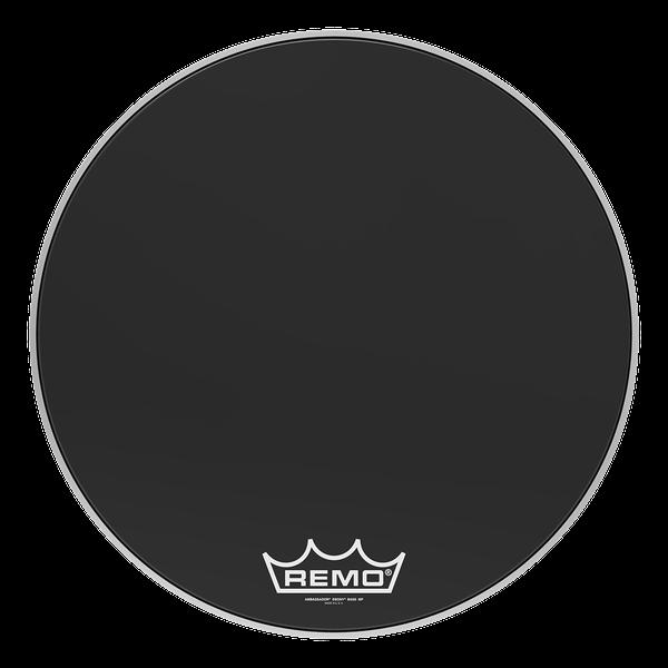 Remo Ambassador Ebony 22-inch Drumhead with Pearl Logo