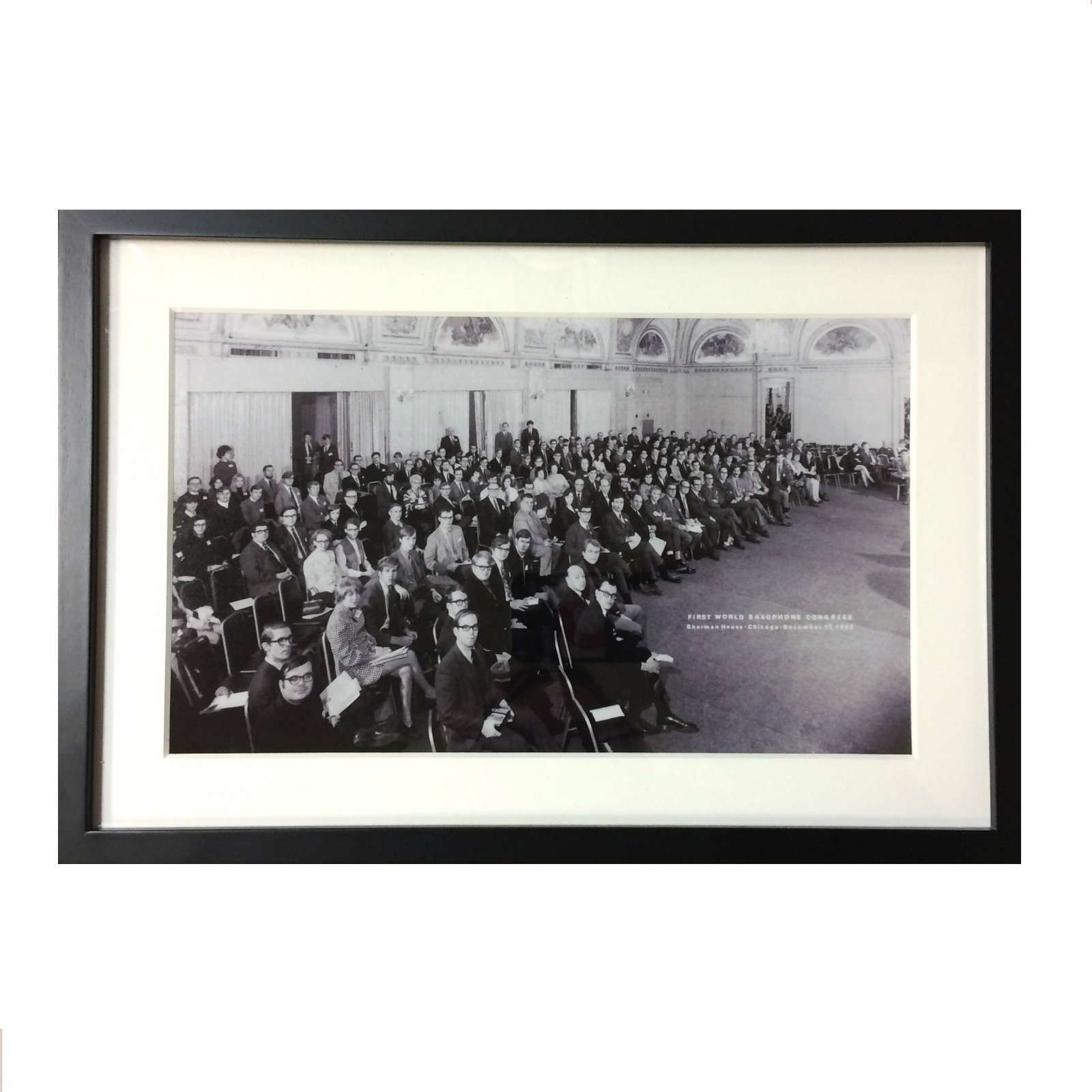 Framed & Matted Black and White Photo from the First World Saxophone Congress: Chicago, 1969