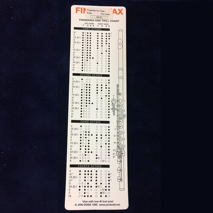 FingerFax Flute Fingering & Trill Chart Bookmark