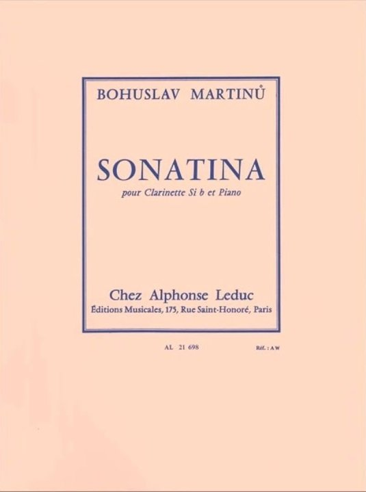 Martinu, Bohuslav: Sonatina for Clarinet & Piano