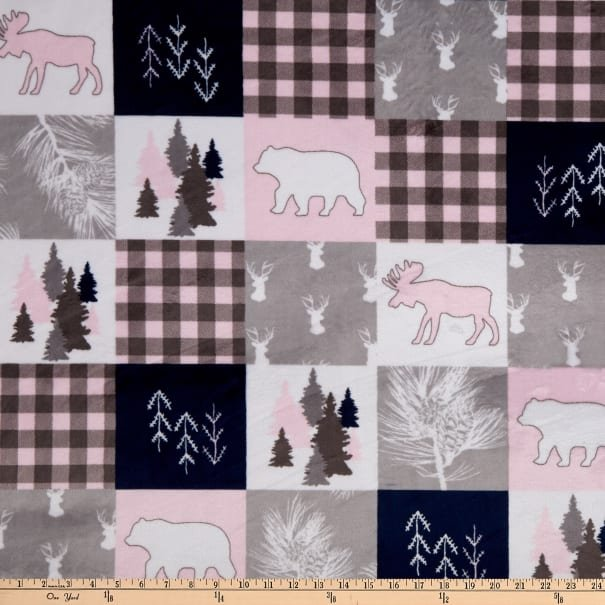 Cabin Quilt Blush Cuddle 60, pink, blue, white and pink animals  by Shannon Fabrics