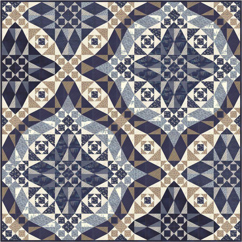 Ebb & Flow Quilt Kit by Janet Clare 72 x 72 Finished Quilt Top , navy, blue, tan