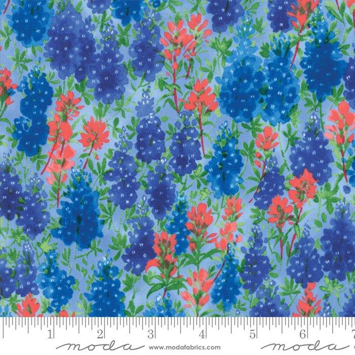 Fields of Blue Ivory 33451 13 by Moda - Bluebonnet