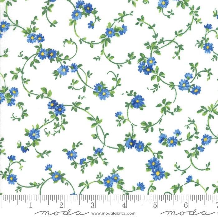 33445-11 White Summer Breeze by Moda, white and blue floral, flowers