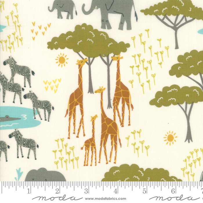 20643-11, Safari Life , beige, orange, teal, grey, green, animals