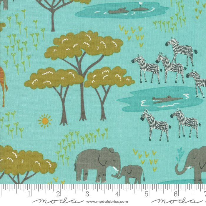 20643-20 Aqua, Safari Life, teal background with orange, green, and grey animals