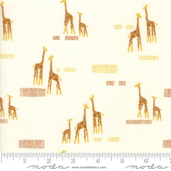 20647-11, Safari Life  giraffes on cream background, orange, animals