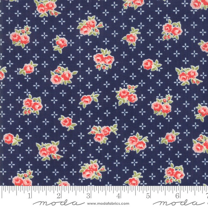 55191-15 Early Bird Sweet Navy, pink flowers, floral bouquets