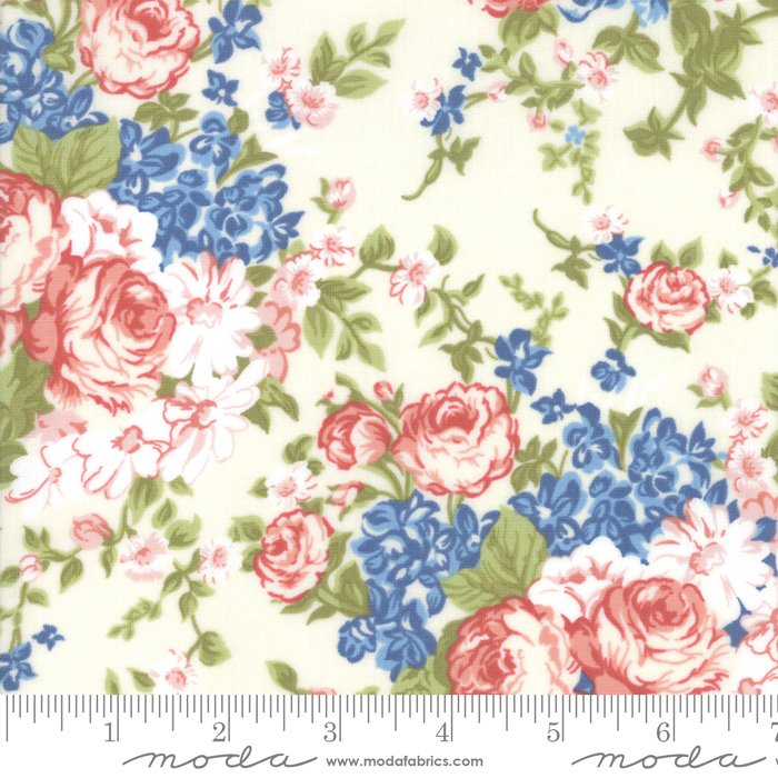 14890-11 Mackinac Island Cream by Moda , large red, blue flowers on white/beige background, off-white, floral