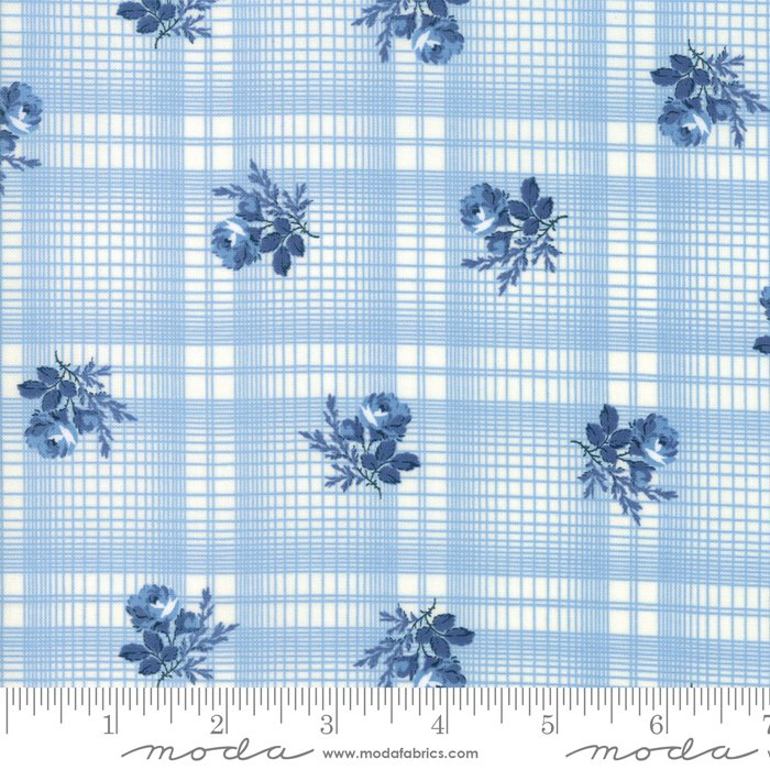 14895-21 Mackinac Island Blue by Moda, light blue background with navy flowers, floral