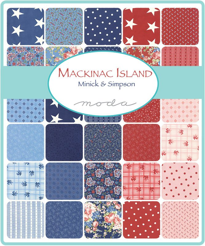 14890JR  Mackinac Island  2.5 Strips, 42 pieces , red, white, blue, floral, flowers, multiple, multi