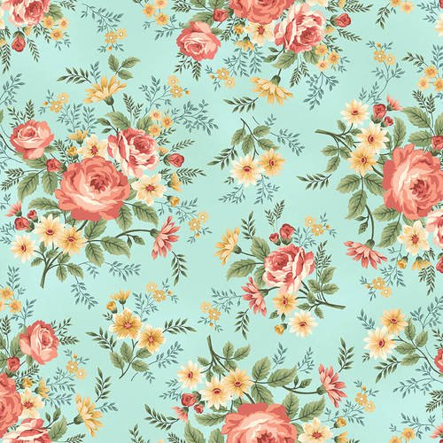 2392-11 Spa Blue Main Floral Spiced Garden , peach, green, yellow, blue floral, flowers