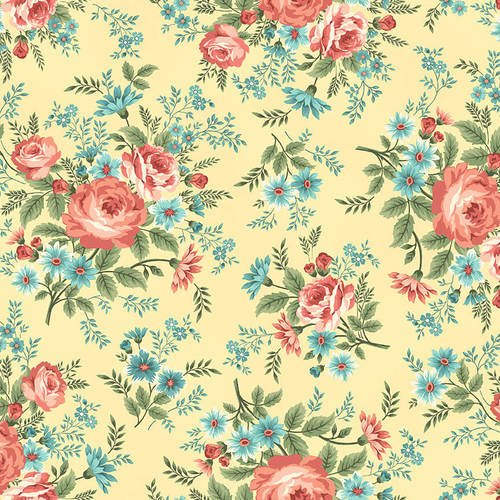 2392-44 Saffron Main Floral Spiced Garden , yellow background with peach, rose flowers, green, floral