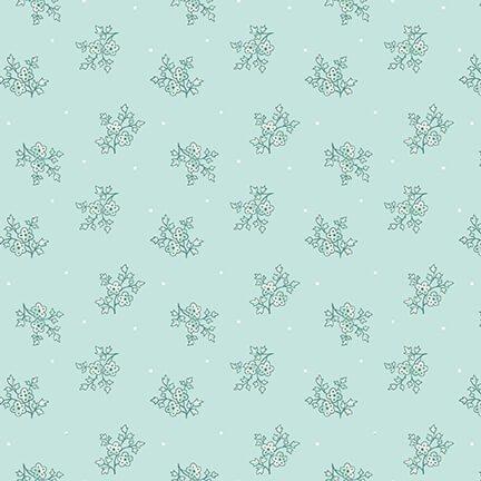 2396-11Spa Blue Calico Spiced Garden, blue green flowers