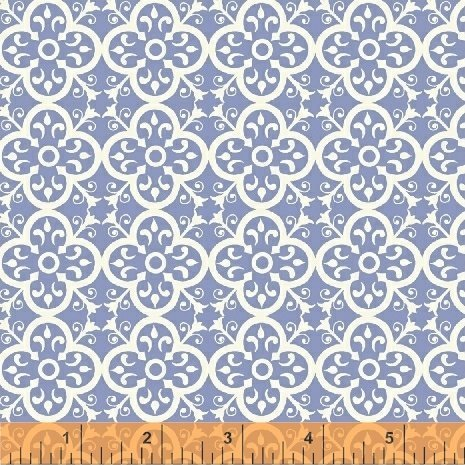 51471-7 Periwinkle Vintage Tile Bungalow By Amy Gibson by Windham Fabric - purple and white