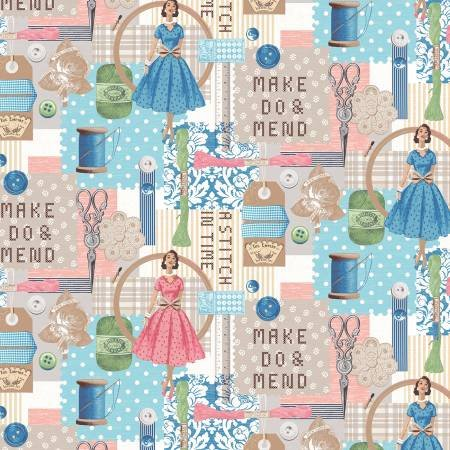 51509-X A Stitch in Time, blue, pink, green