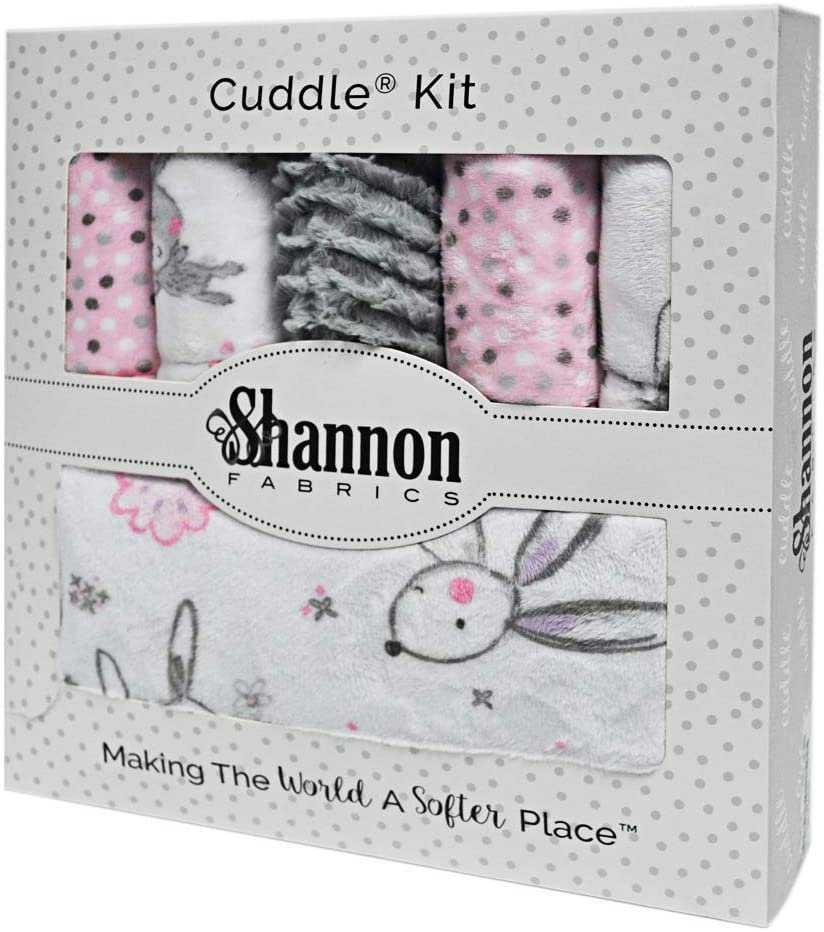 Bambino Cuddle Kit Bunny Hunny 28x37 by Shannon Fabric, pink grey and whites