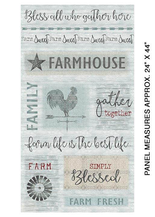 Farm Sweet Farm Panel AquaMulti, grey, teal, multiple colors, multi