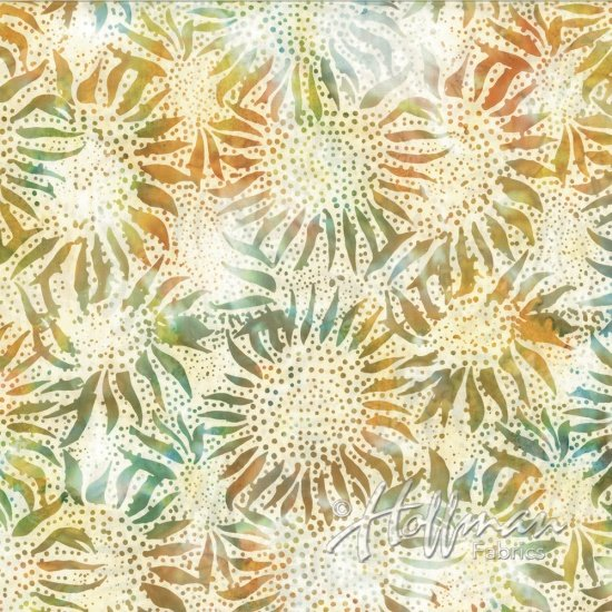 Bali Chops Sunflower Impressionist 884-650 orange, green, teal flower