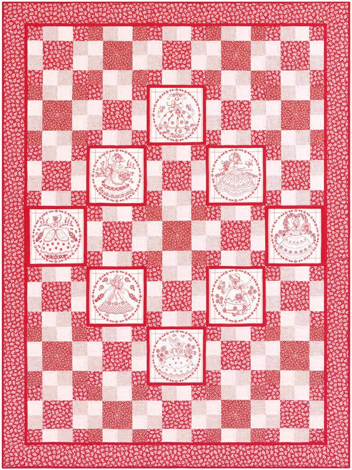 Sweethearts Redwork Kit from Southern Belles Collection by Robert Kaufman, Darlene Zimmerman, 59 x 79