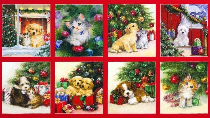 Christmas Pets Panel  red