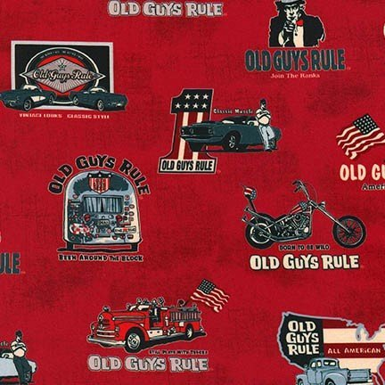 AODD-17518-3 Red,  Old Guys Rule red, blue and grey