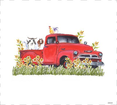 DE004 Red Truck with Chickens and Goats Quilt block 9 x 10