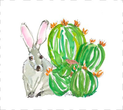 DE025 Jackrabbit and Cactus Quilt block 9 x 10  , animals, green