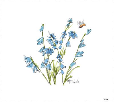 DE051 Blue Flower and Bee Quilt block 9 x 10  , animals, blue