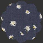 Ragged Daisies Denim Fabric, DEN-P-1002 navy