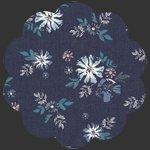 Artic Avens Denim Fabric, DEN-P- navy blue floral
