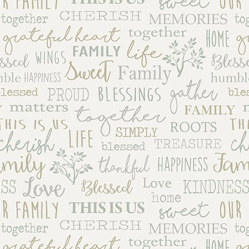 Family Words Cream - Farm Sweet Farm Collection, teal, tan, and grey words on cream background