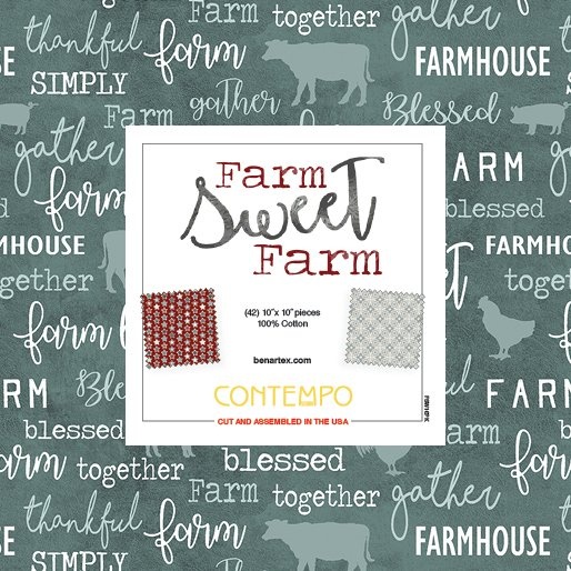10 x 10 Squares Pack, Farm Sweet Farm Collection , multiple colors, multi