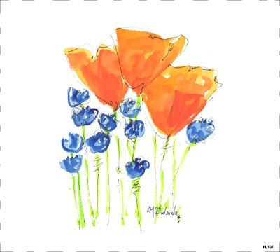 FL137 flowers Quilt block 9 x 10  orange and blue