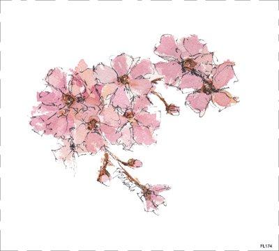 FL174 flowers Quilt block 9 x 9  Pink