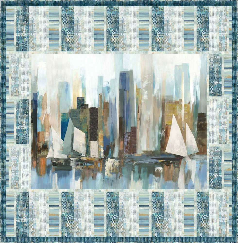 Harbor View Kit 47 x 48 Wall Hanging, grey, blue, gold
