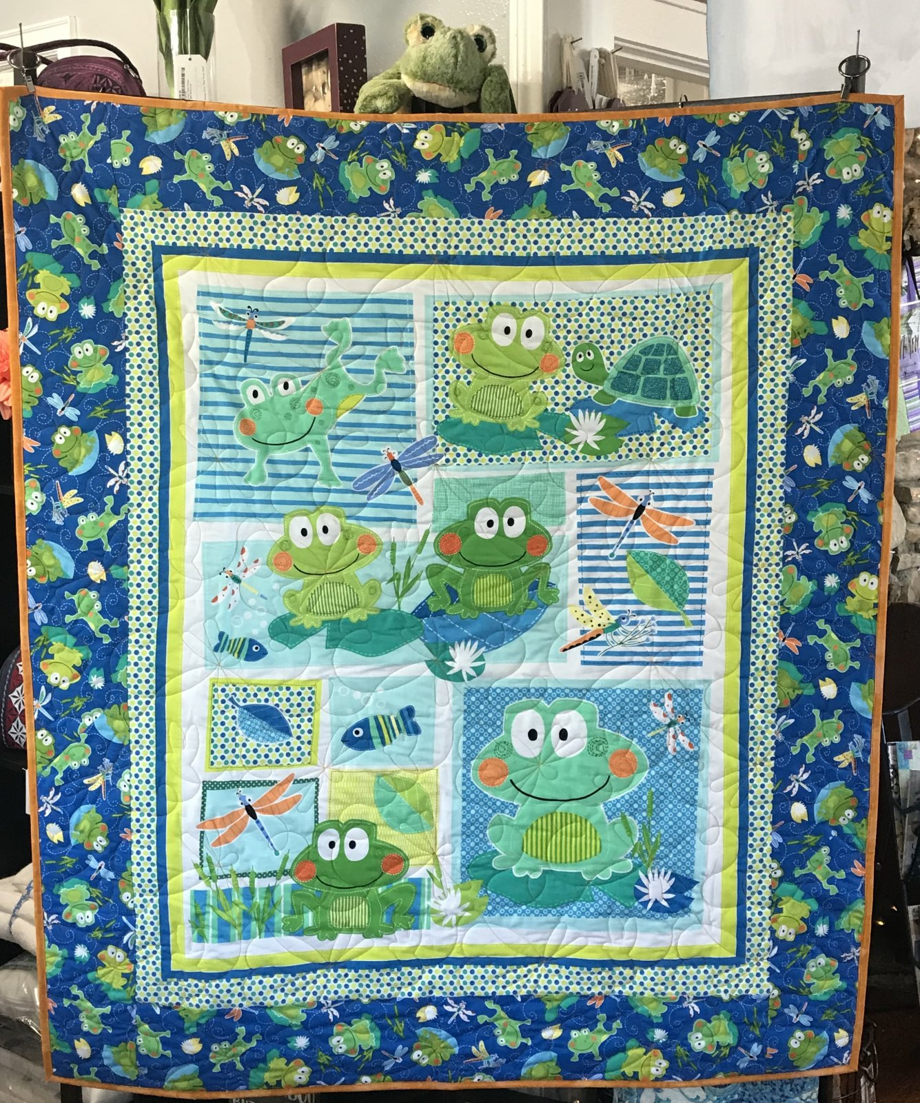 Hippity Hoppity Frog Quilt Kit 46 x 56, blue and green