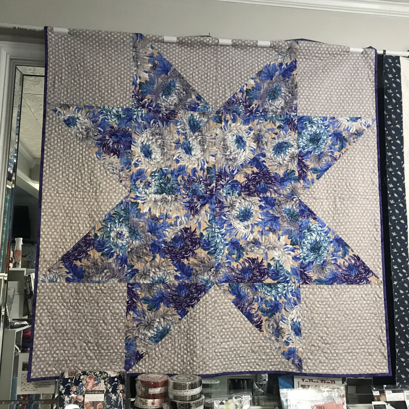 Barn Star Quilt Kit with Kaffe Fasset PWPJ072 Purples and Greys