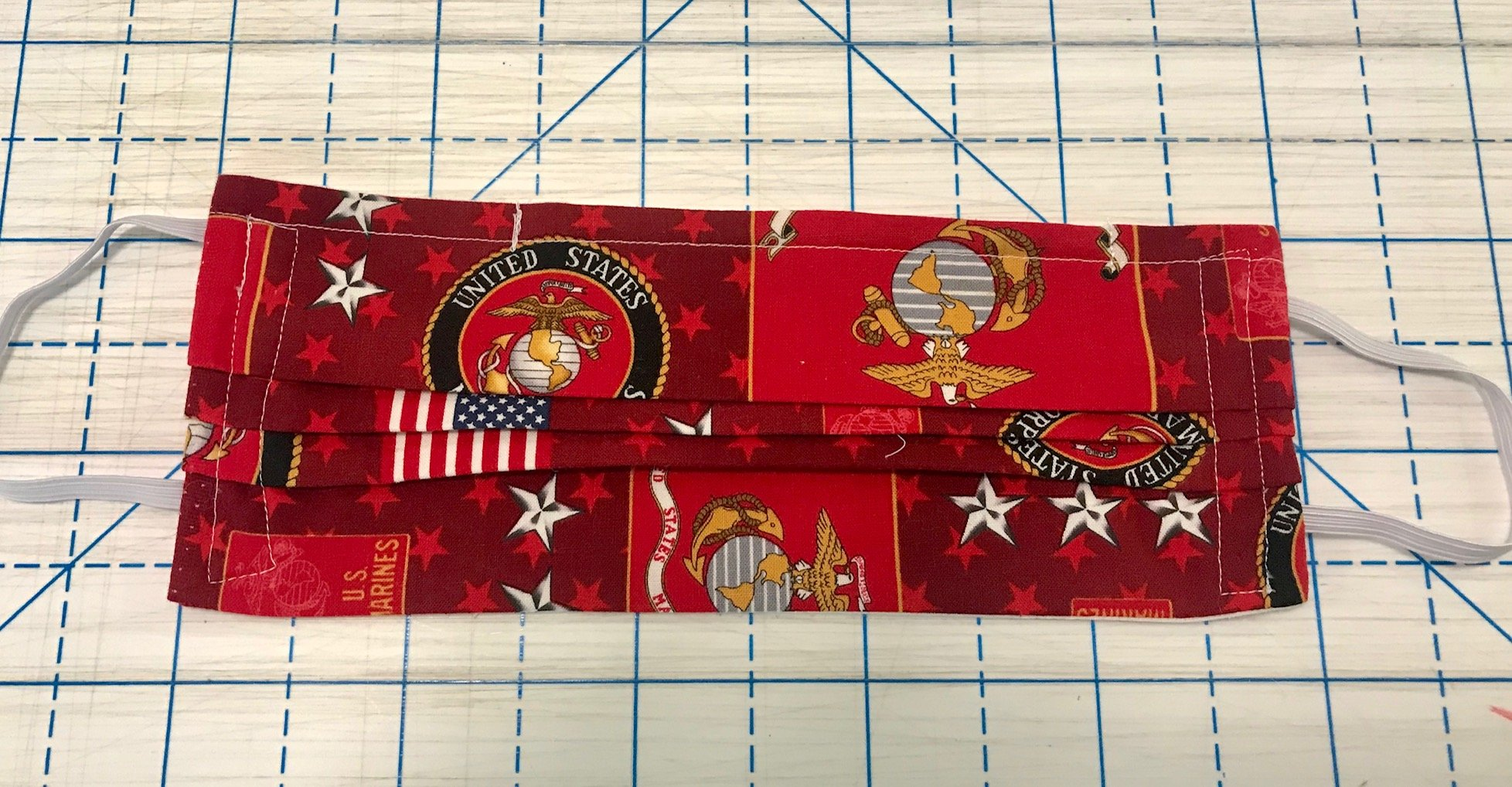 Face Mask United States Marine Corps 10 x 4 with fabric elastic and nose pin Masks - By Nancy M