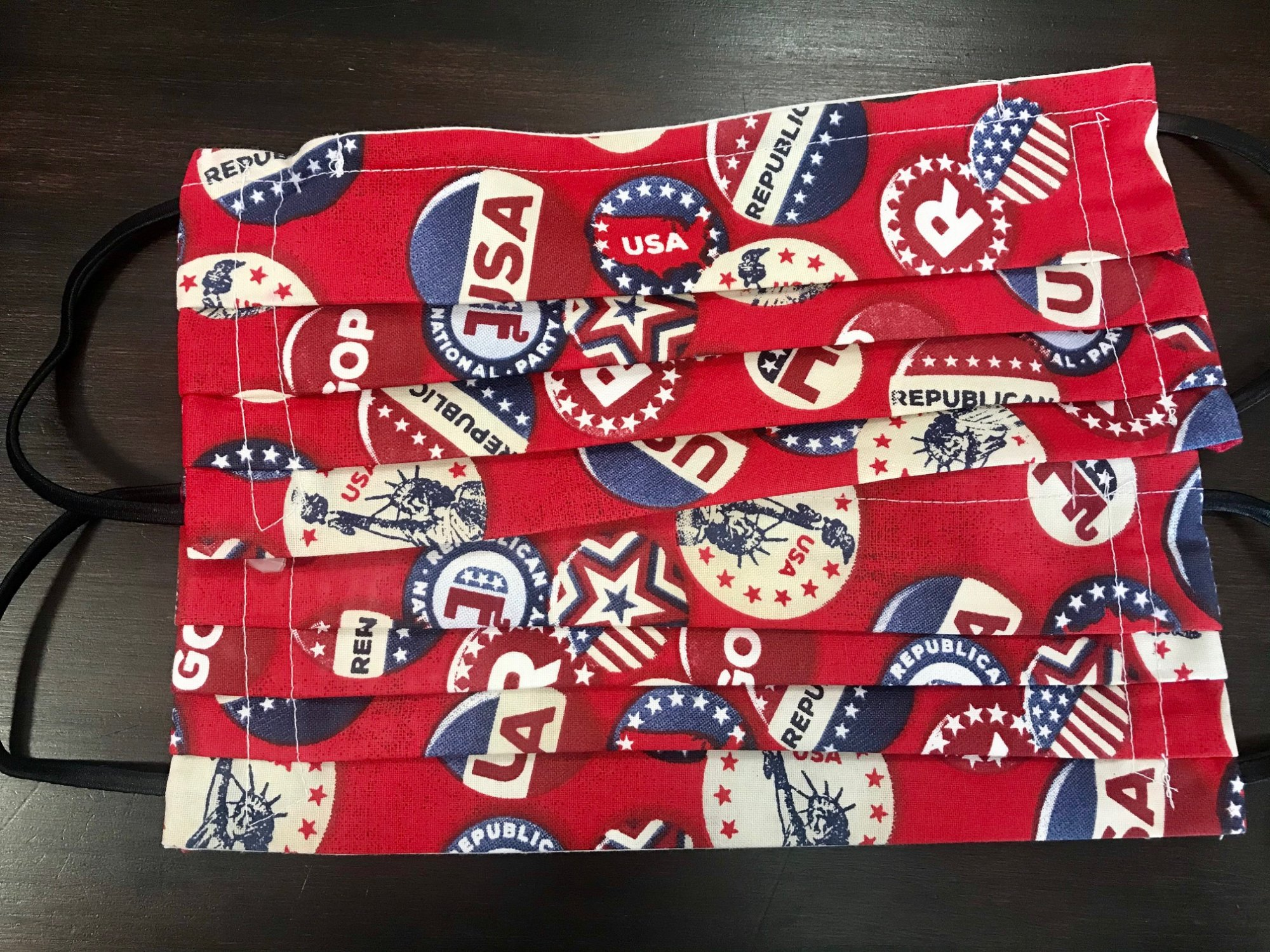 Face Mask Republican 10 x 4 with fabric elastic and nose pin Masks - By Nancy M