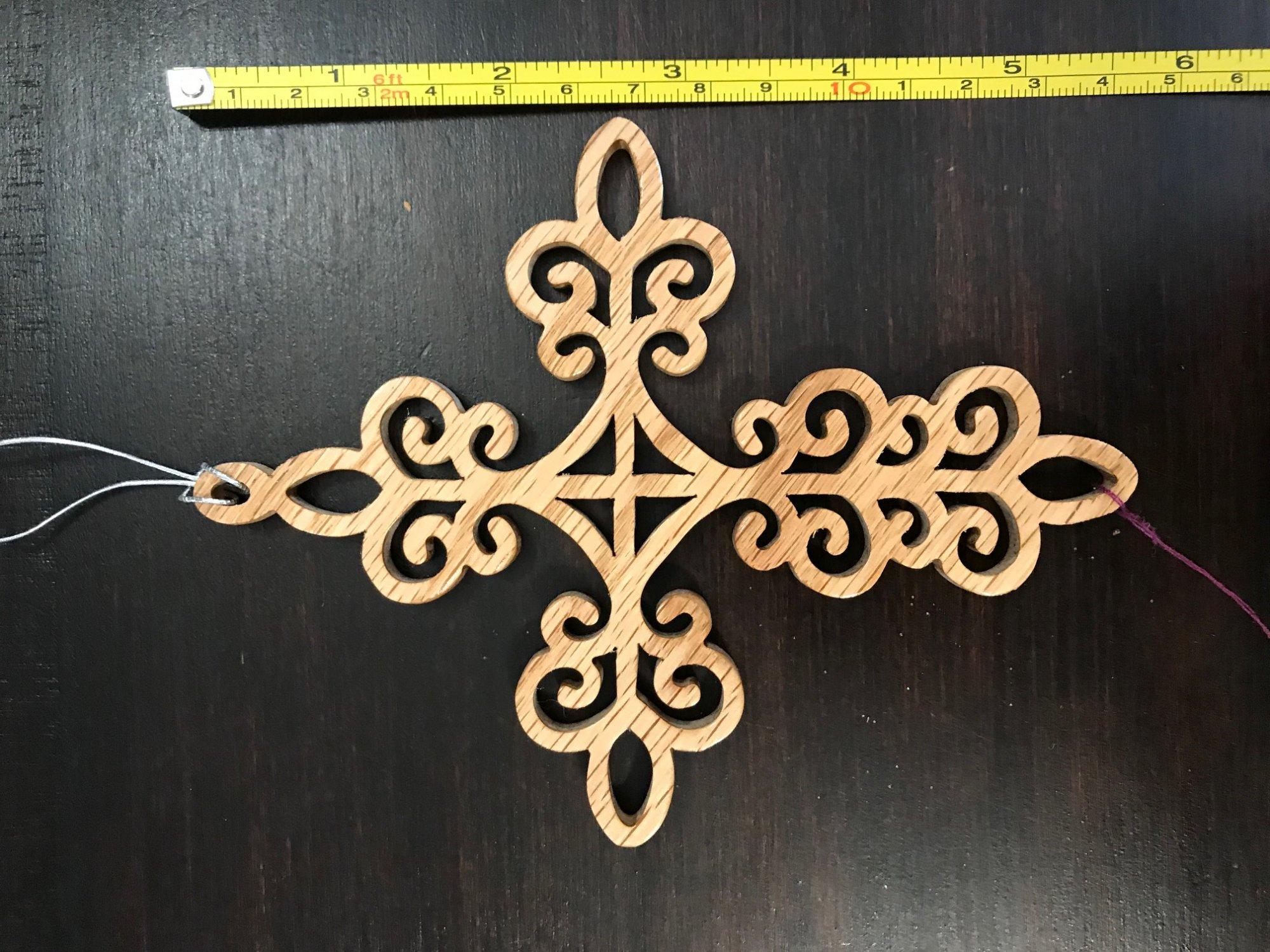 Ornamental Cross Wood 6 inch Ornament by Jo Ann Wiggs