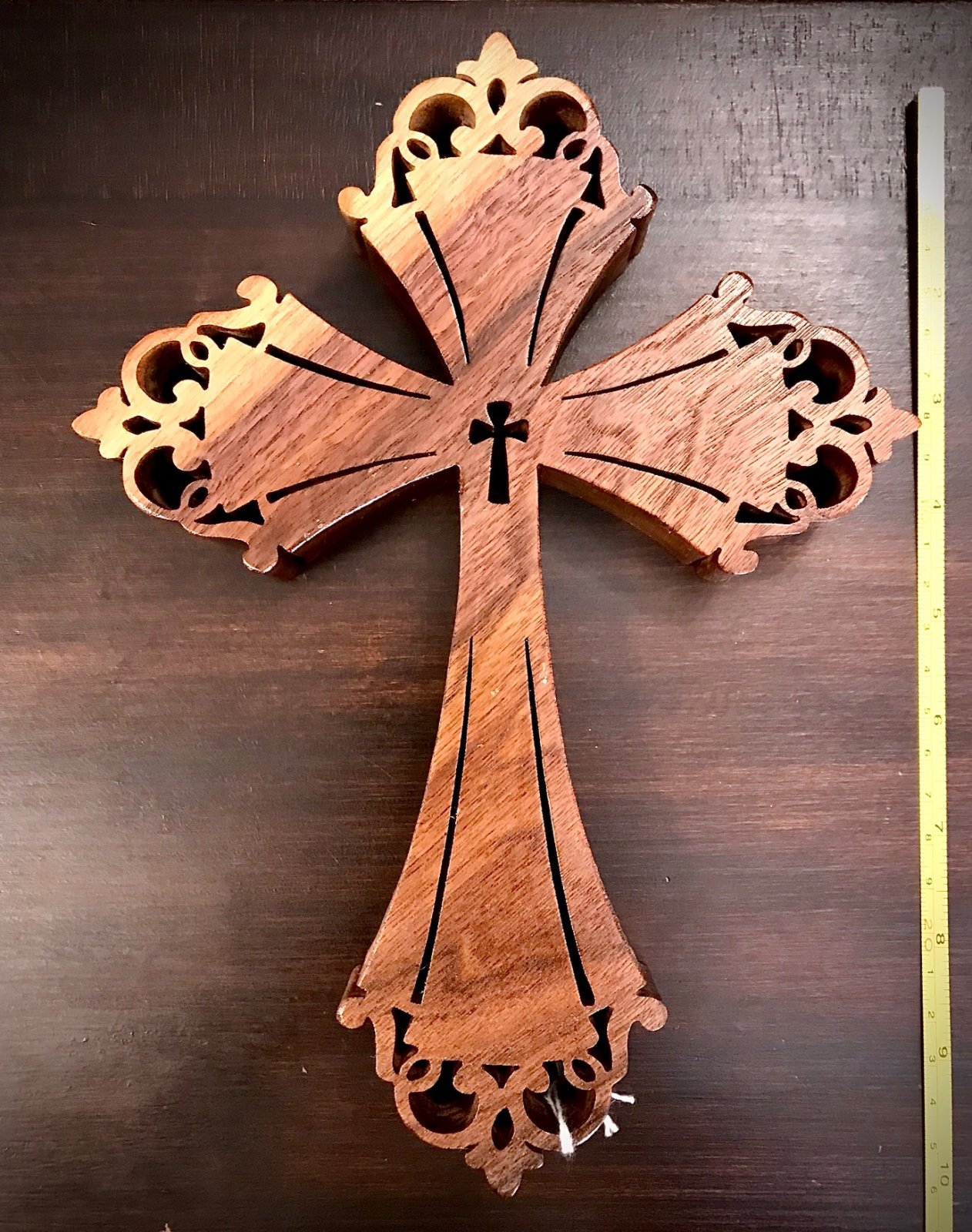 Walnut Wood Cross 10 Inch by Jo Ann Wiggs